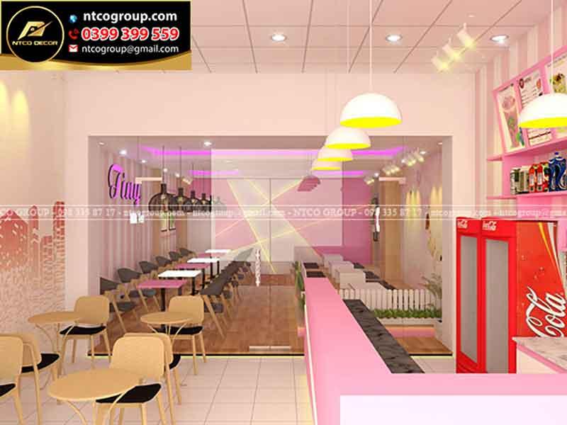 Thiết kế quán trà sữa đẹp ở Bình Tân