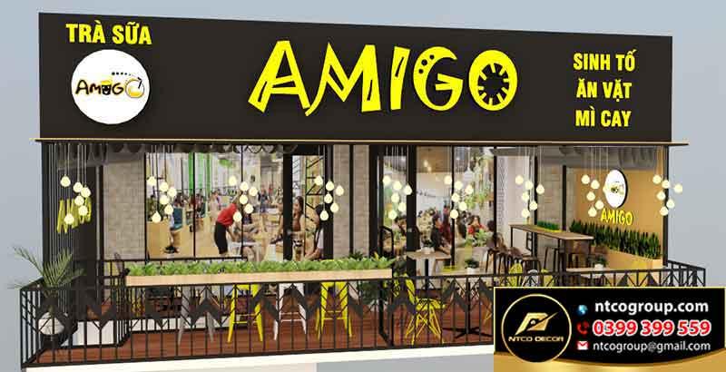 thiết kế thi công quán trà sữa Amigo đẹp