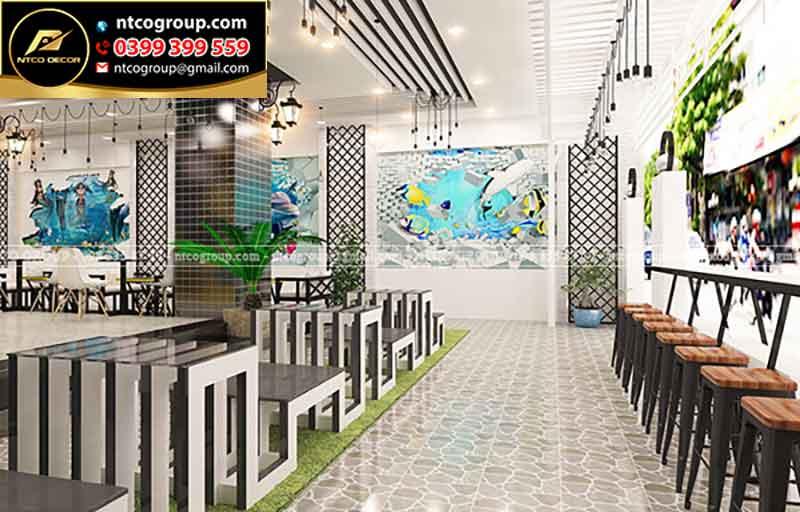 Thiết kế quán trà sữa ngoài trời  Mini ở Biên Hòa Đồng Nai