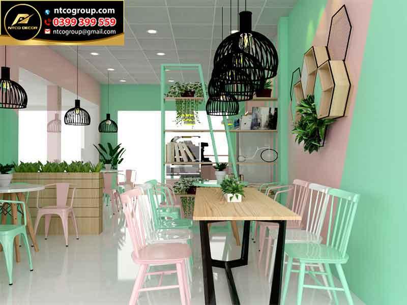 Trang trí quán trà sữa đơn giản mà đẹp tại Lâm Đồng