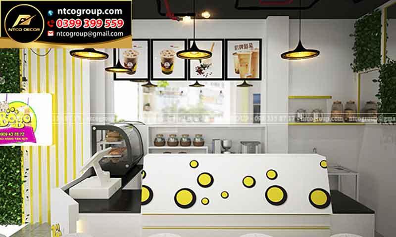 Thiết kế quán trà sữa take away đơn giản, tinh tế ở quận 3, tphcm