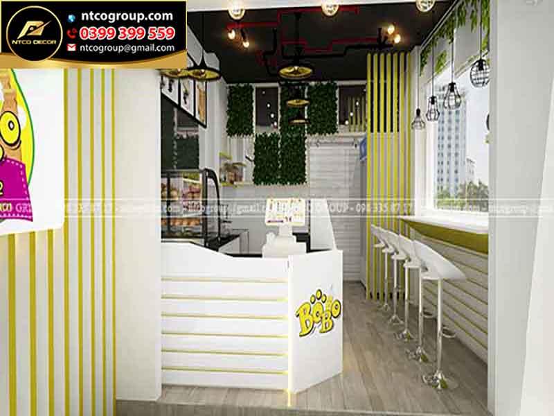 Thiết kế quán trà sữa take away, quận 3, tphcm